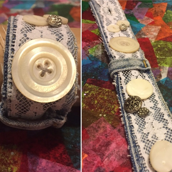 Jewelry - Handmade denim & lace bracelet